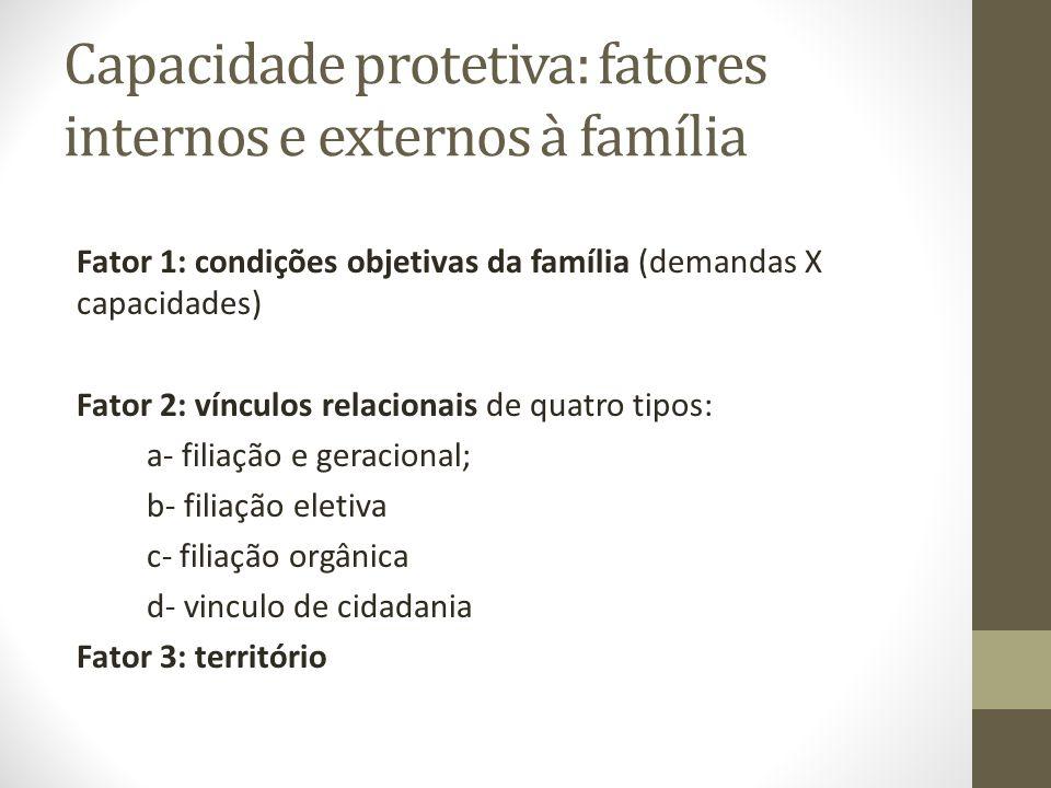 Capacidade protetiva: fatores internos e externos à família Fator 1: condições objetivas da família (demandas X capacidades) Fator 2: vínculos relacionais de quatro tipos: a- filiação e geracional; b- filiação eletiva c- filiação orgânica d- vinculo de cidadania Fator 3: território