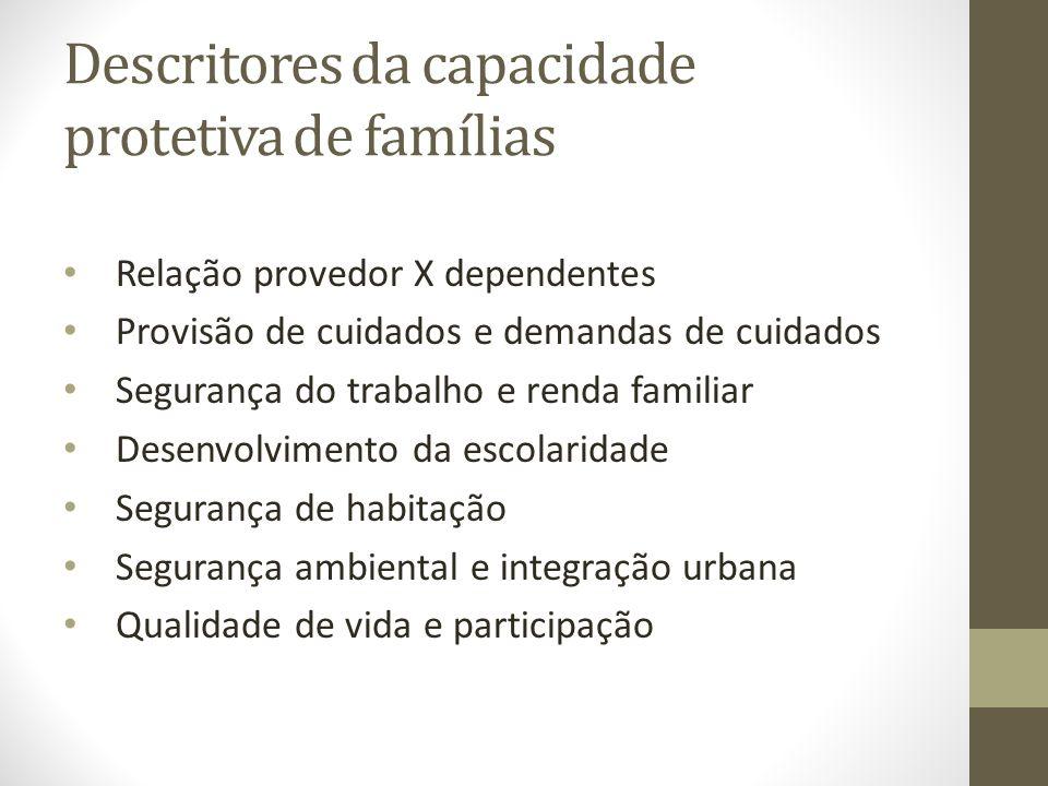 Descritores da capacidade protetiva de famílias Relação provedor X dependentes Provisão de cuidados e demandas de cuidados Segurança do trabalho e ren