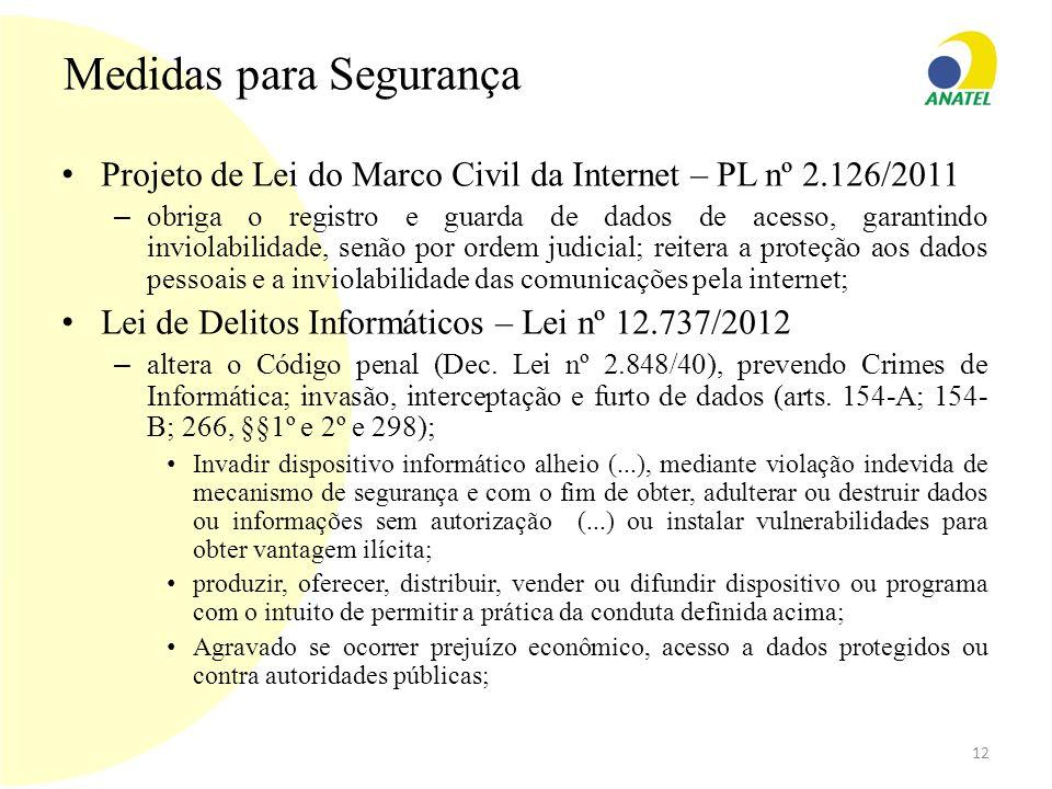 Medidas para Segurança Projeto de Lei do Marco Civil da Internet – PL nº 2.126/2011 – obriga o registro e guarda de dados de acesso, garantindo inviol