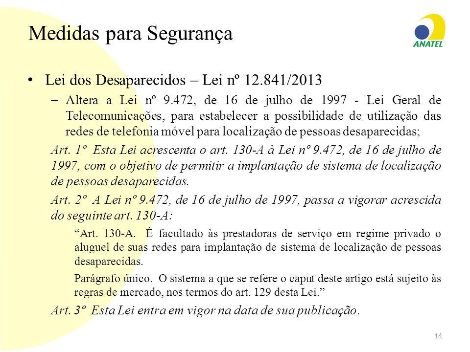 Medidas para Segurança Lei dos Desaparecidos – Lei nº 12.841/2013 – Altera a Lei nº 9.472, de 16 de julho de 1997 - Lei Geral de Telecomunicações, par