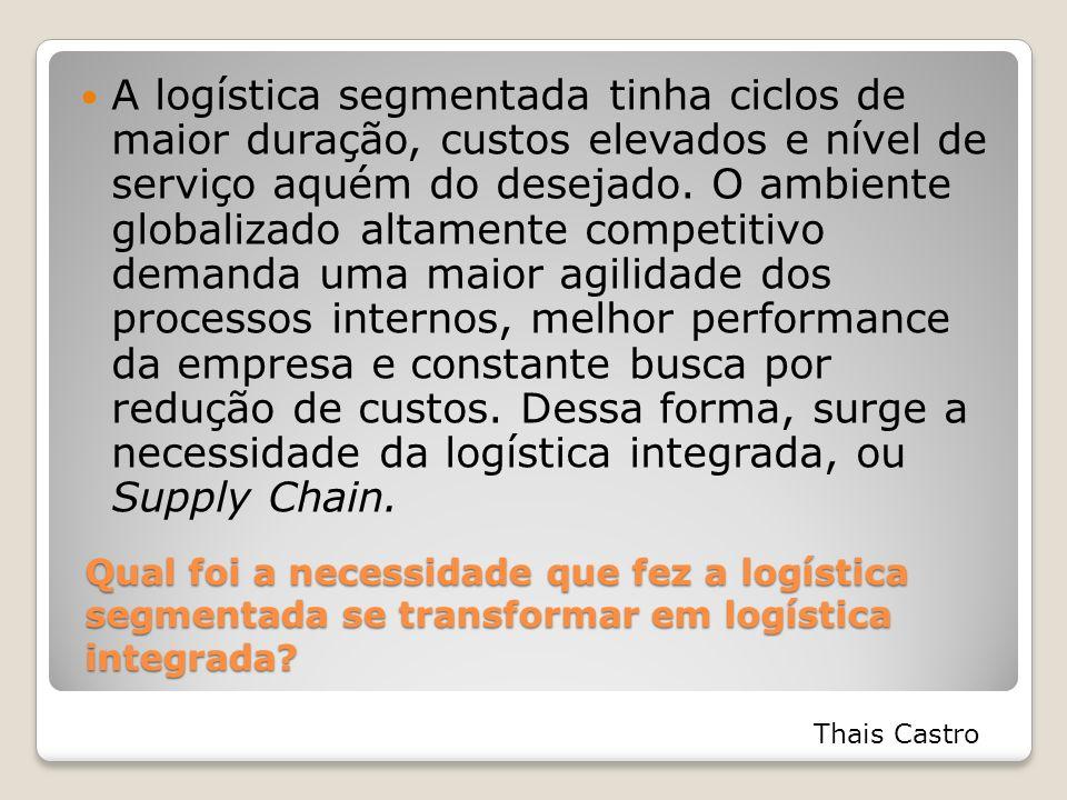 Qual foi a necessidade que fez a logística segmentada se transformar em logística integrada? A logística segmentada tinha ciclos de maior duração, cus