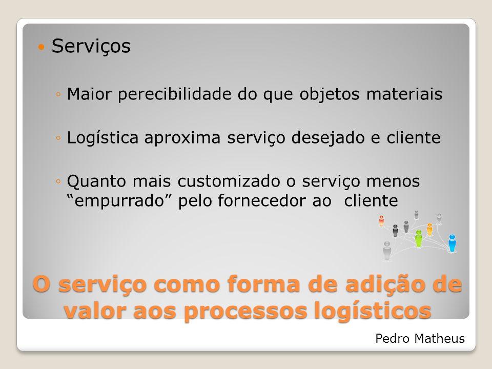 O serviço como forma de adição de valor aos processos logísticos Pedro Matheus Serviços Em massa maior dependência do cliente Sistemas de serviço automatizados podem solucionar fila de espera por atendimento Internet, Auto-atendimento via telefone, etc.