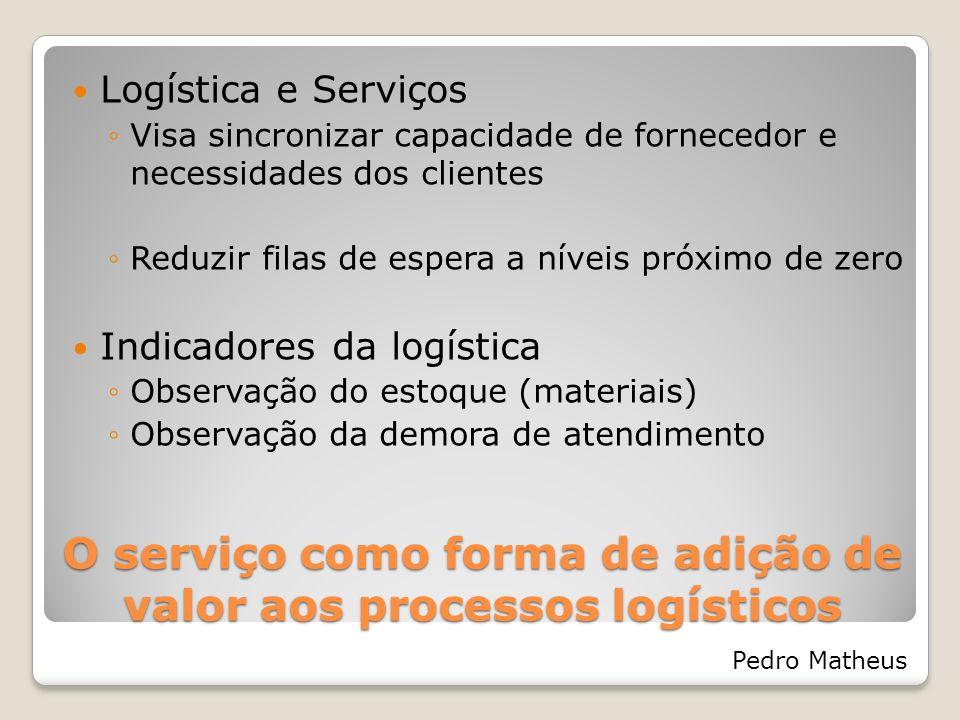 O serviço como forma de adição de valor aos processos logísticos Logística e Serviços Visa sincronizar capacidade de fornecedor e necessidades dos cli