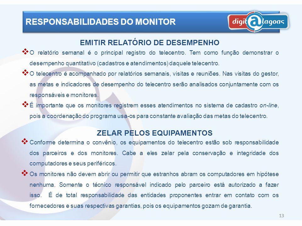 12 RESPONSABILIDADES DO MONITOR USAR O E-MAIL DIARIAMENTE O e-mail deve ser usado como ferramenta de comunicação do dia-a-dia entre todos os envolvido