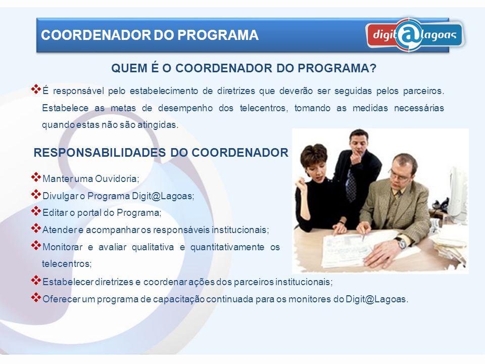 Indicado pelo Coordenador do Programa, é o responsável direto pela supervisão e acompanhamento de um conjunto de telecentros. Tem a função de propor a