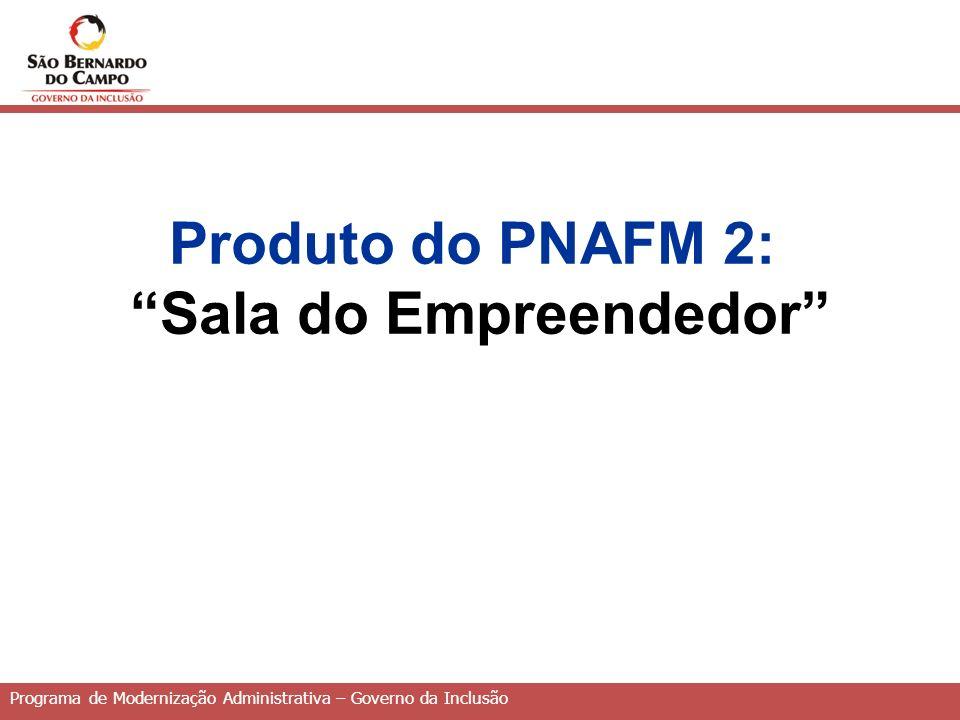 Programa de Modernização Administrativa – Governo da Inclusão Produto do PNAFM 2: Sala do Empreendedor