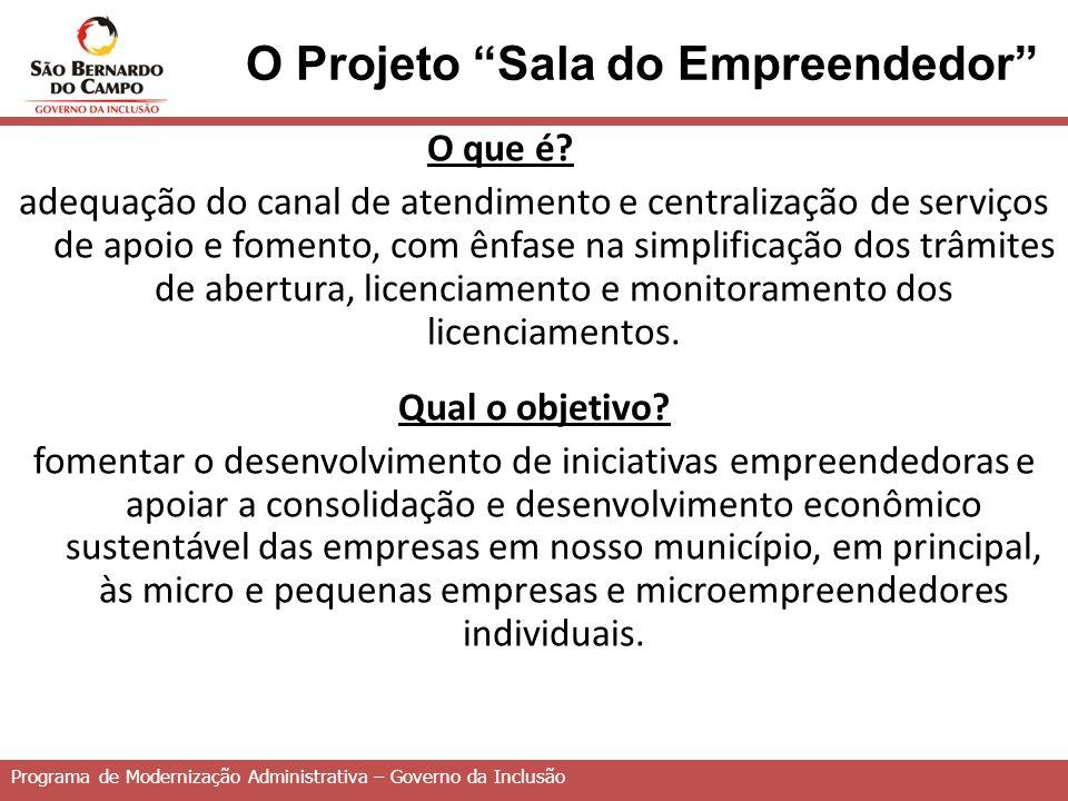 Programa de Modernização Administrativa – Governo da Inclusão O Projeto Sala do Empreendedor O que é.