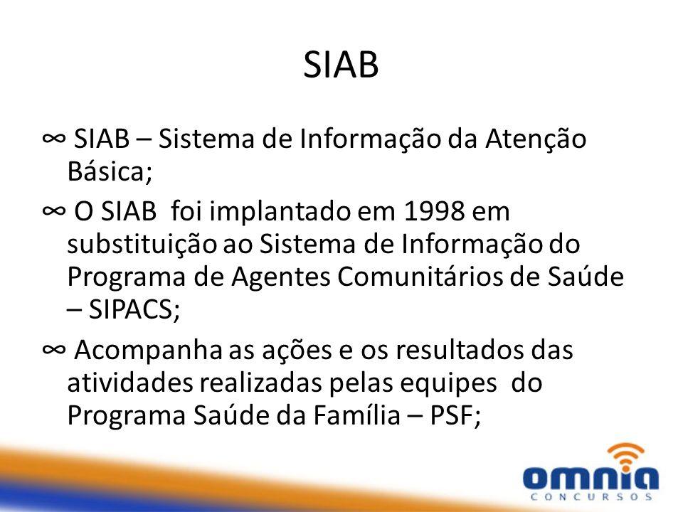SIAB SIAB – Sistema de Informação da Atenção Básica; O SIAB foi implantado em 1998 em substituição ao Sistema de Informação do Programa de Agentes Comunitários de Saúde – SIPACS; Acompanha as ações e os resultados das atividades realizadas pelas equipes do Programa Saúde da Família – PSF;