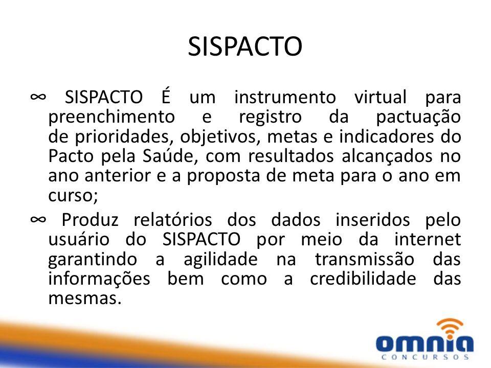 SISPACTO SISPACTO É um instrumento virtual para preenchimento e registro da pactuação de prioridades, objetivos, metas e indicadores do Pacto pela Saú