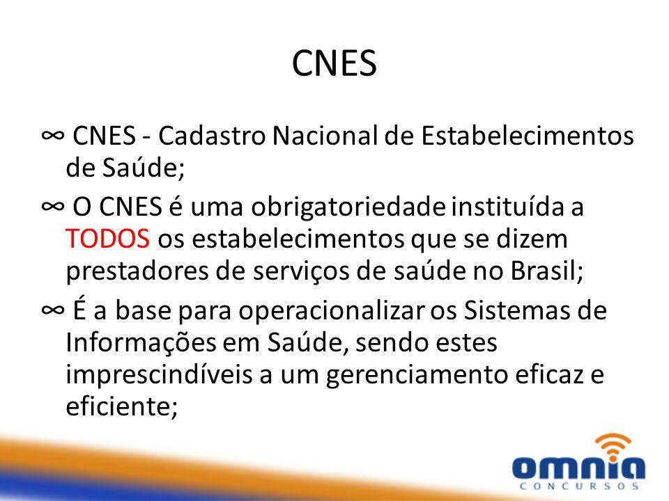 CNES CNES - Cadastro Nacional de Estabelecimentos de Saúde; O CNES é uma obrigatoriedade instituída a TODOS os estabelecimentos que se dizem prestadores de serviços de saúde no Brasil; É a base para operacionalizar os Sistemas de Informações em Saúde, sendo estes imprescindíveis a um gerenciamento eficaz e eficiente;