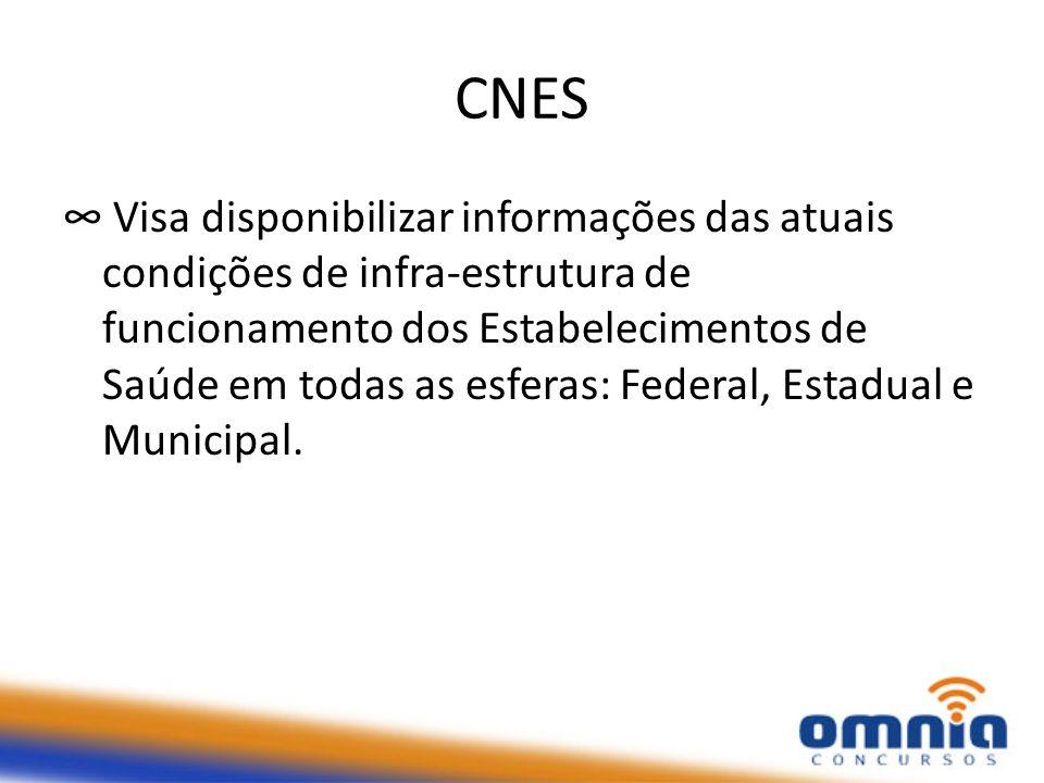 CNES Visa disponibilizar informações das atuais condições de infra-estrutura de funcionamento dos Estabelecimentos de Saúde em todas as esferas: Federal, Estadual e Municipal.