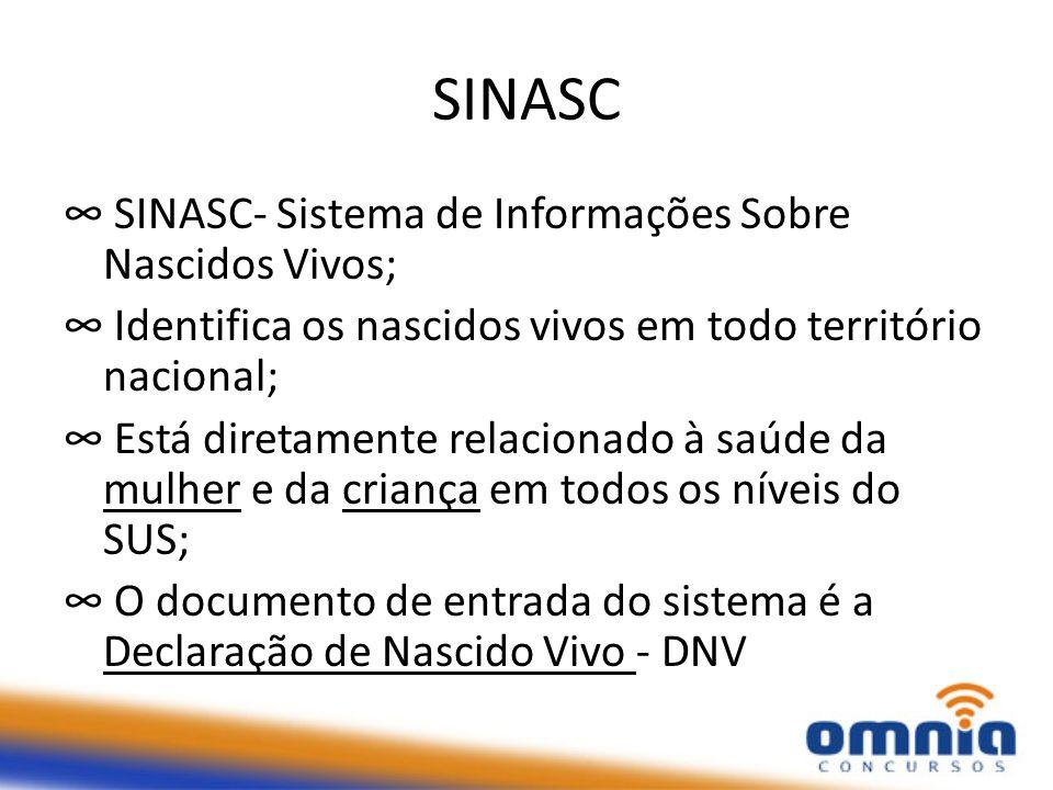 SINASC SINASC- Sistema de Informações Sobre Nascidos Vivos; Identifica os nascidos vivos em todo território nacional; Está diretamente relacionado à s