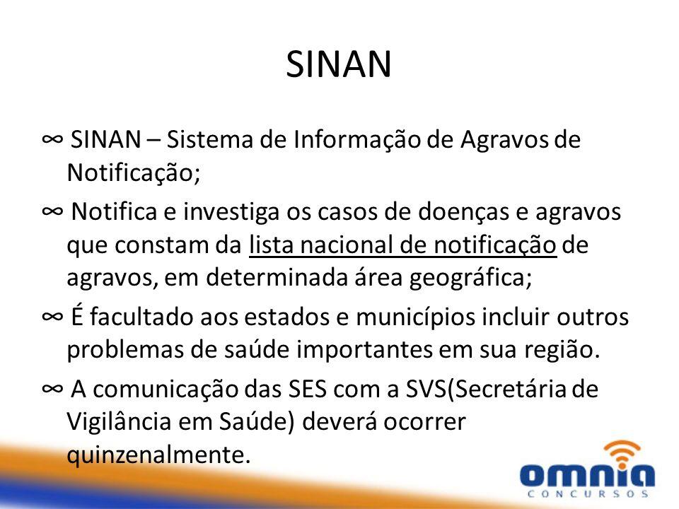 SINAN SINAN – Sistema de Informação de Agravos de Notificação; Notifica e investiga os casos de doenças e agravos que constam da lista nacional de not