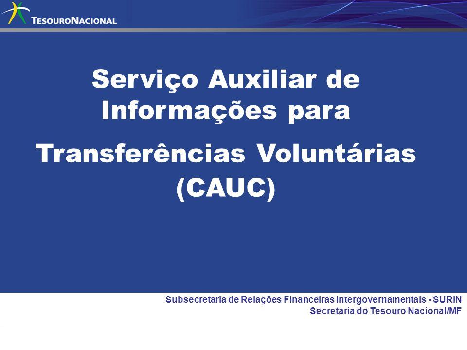 Serviço Auxiliar de Informações para Transferências Voluntárias (CAUC) Subsecretaria de Relações Financeiras Intergovernamentais - SURIN Secretaria do