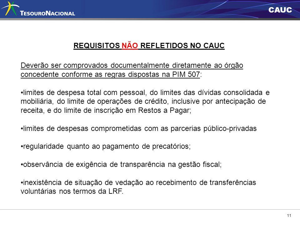 CAUC 11 REQUISITOS NÃO REFLETIDOS NO CAUC Deverão ser comprovados documentalmente diretamente ao órgão concedente conforme as regras dispostas na PIM