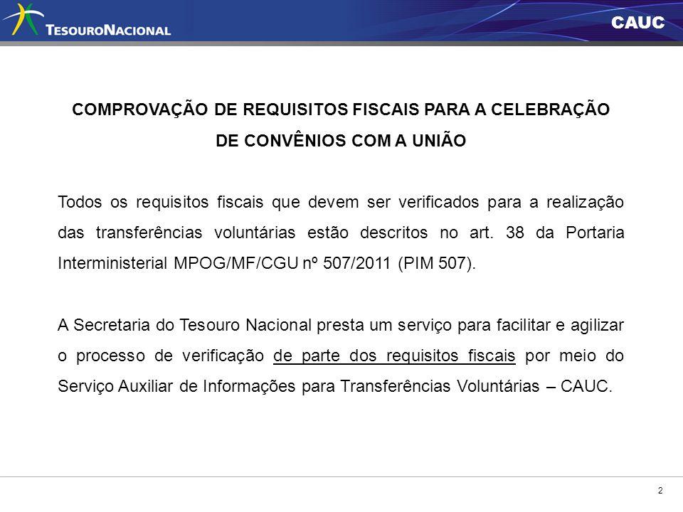 CAUC 2 COMPROVAÇÃO DE REQUISITOS FISCAIS PARA A CELEBRAÇÃO DE CONVÊNIOS COM A UNIÃO Todos os requisitos fiscais que devem ser verificados para a reali