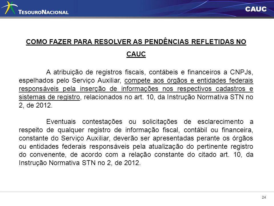 CAUC 24 COMO FAZER PARA RESOLVER AS PENDÊNCIAS REFLETIDAS NO CAUC A atribuição de registros fiscais, contábeis e financeiros a CNPJs, espelhados pelo