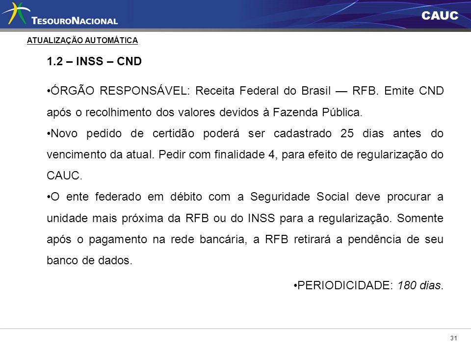 CAUC 31 1.2 – INSS – CND ÓRGÃO RESPONSÁVEL: Receita Federal do Brasil RFB. Emite CND após o recolhimento dos valores devidos à Fazenda Pública. Novo p
