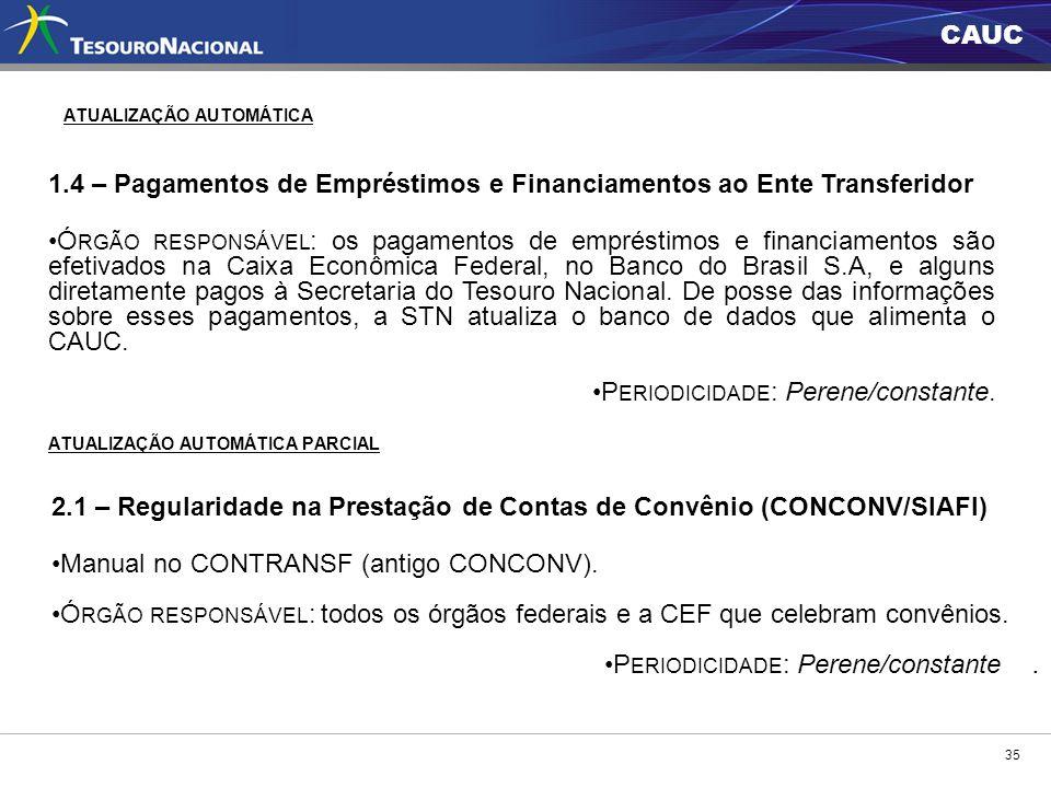 CAUC 35 ATUALIZAÇÃO AUTOMÁTICA 1.4 – Pagamentos de Empréstimos e Financiamentos ao Ente Transferidor Ó RGÃO RESPONSÁVEL : os pagamentos de empréstimos