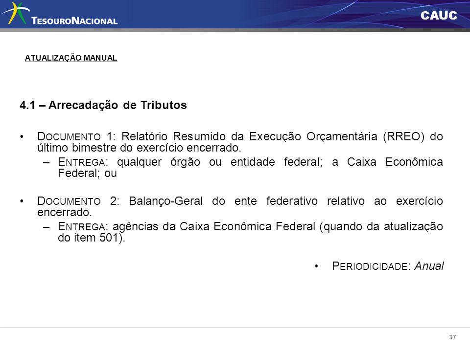 CAUC 4.1 – Arrecadação de Tributos D OCUMENTO 1: Relatório Resumido da Execução Orçamentária (RREO) do último bimestre do exercício encerrado. –E NTRE