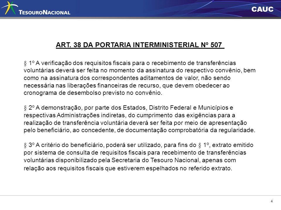 CAUC 4 ART. 38 DA PORTARIA INTERMINISTERIAL Nº 507 § 1º A verificação dos requisitos fiscais para o recebimento de transferências voluntárias deverá s
