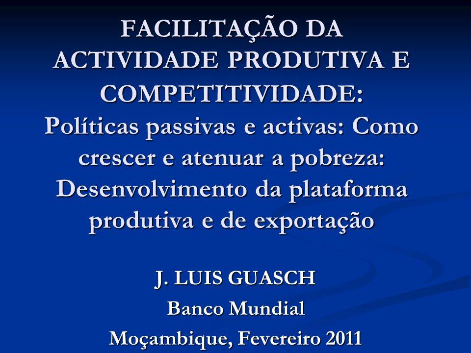 FACILITAÇÃO DA ACTIVIDADE PRODUTIVA E COMPETITIVIDADE : Políticas passivas e activas: Como crescer e atenuar a pobreza: Desenvolvimento da plataforma produtiva e de exportação J.