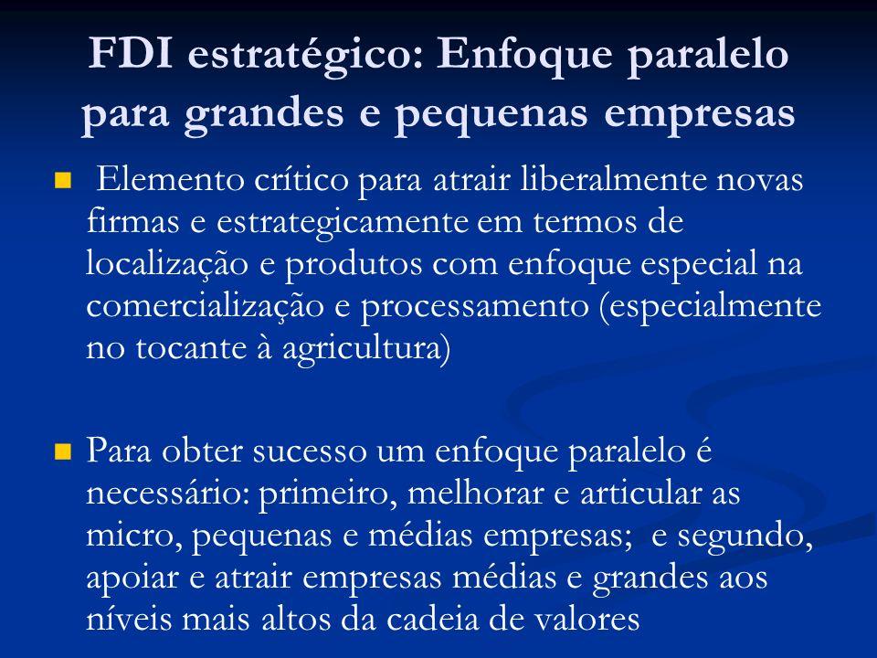 FDI estratégico: Enfoque paralelo para grandes e pequenas empresas Elemento crítico para atrair liberalmente novas firmas e estrategicamente em termos
