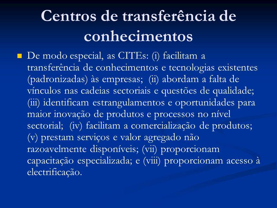 Centros de transferência de conhecimentos De modo especial, as CITEs: (i) facilitam a transferência de conhecimentos e tecnologias existentes (padroni