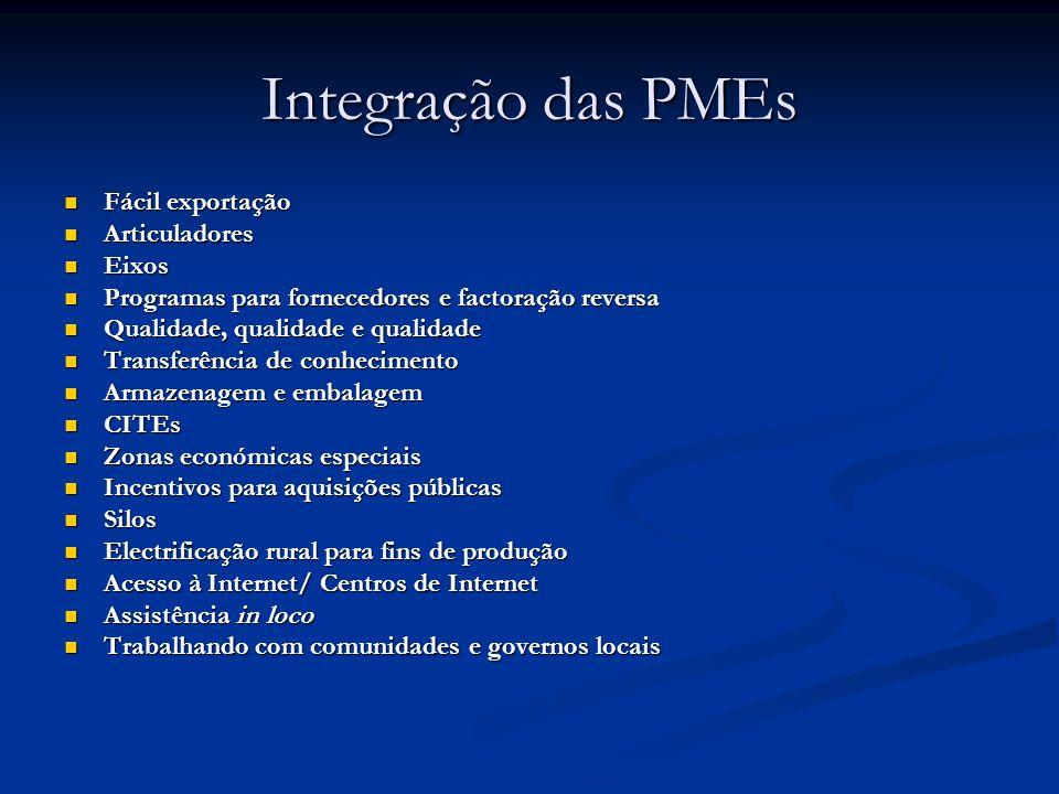 Integração das PMEs Fácil exportação Fácil exportação Articuladores Articuladores Eixos Eixos Programas para fornecedores e factoração reversa Program