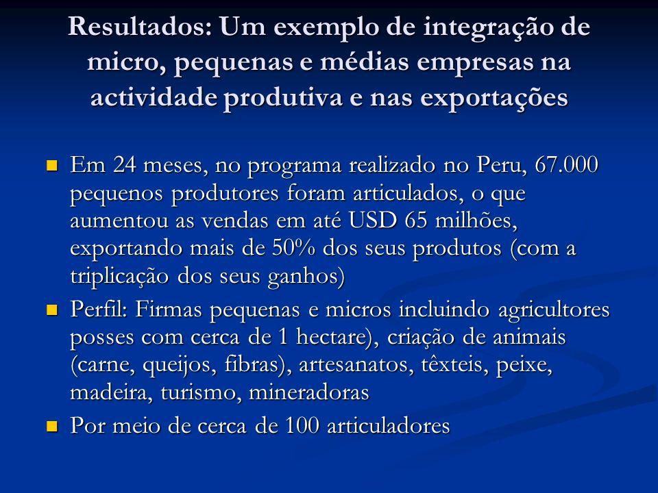 Resultados: Um exemplo de integração de micro, pequenas e médias empresas na actividade produtiva e nas exportações Em 24 meses, no programa realizado