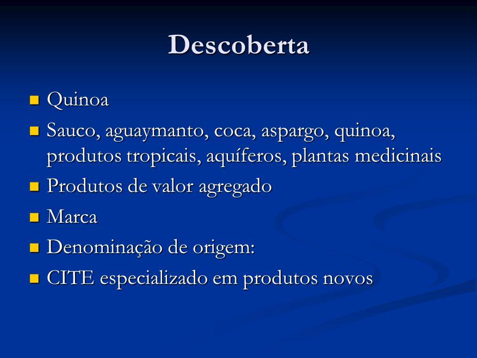 Descoberta Quinoa Quinoa Sauco, aguaymanto, coca, aspargo, quinoa, produtos tropicais, aquíferos, plantas medicinais Sauco, aguaymanto, coca, aspargo, quinoa, produtos tropicais, aquíferos, plantas medicinais Produtos de valor agregado Produtos de valor agregado Marca Marca Denominação de origem: Denominação de origem: CITE especializado em produtos novos CITE especializado em produtos novos