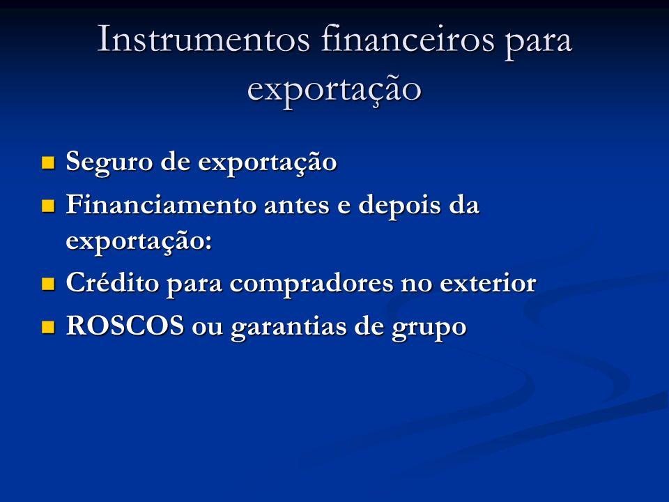 Instrumentos financeiros para exportação Seguro de exportação Seguro de exportação Financiamento antes e depois da exportação: Financiamento antes e depois da exportação: Crédito para compradores no exterior Crédito para compradores no exterior ROSCOS ou garantias de grupo ROSCOS ou garantias de grupo