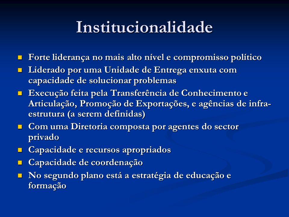 Institucionalidade Forte liderança no mais alto nível e compromisso político Forte liderança no mais alto nível e compromisso político Liderado por um