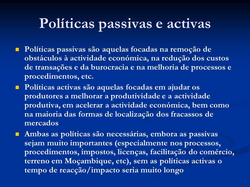 Políticas passivas e activas Políticas passivas são aquelas focadas na remoção de obstáculos à actividade económica, na redução dos custos de transações e da burocracia e na melhoria de processos e procedimentos, etc.