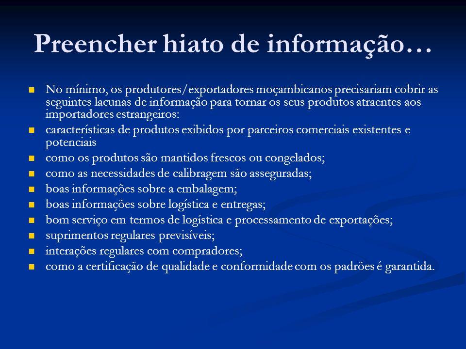 Preencher hiato de informação… No mínimo, os produtores/exportadores moçambicanos precisariam cobrir as seguintes lacunas de informação para tornar os