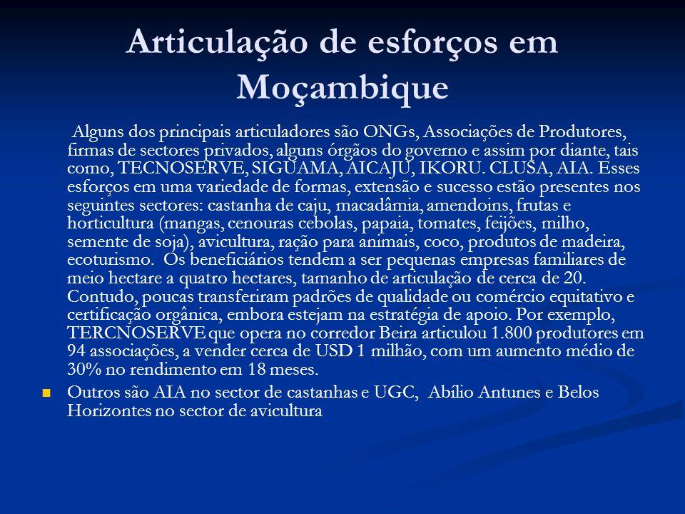 Articulação de esforços em Moçambique Alguns dos principais articuladores são ONGs, Associações de Produtores, firmas de sectores privados, alguns órgãos do governo e assim por diante, tais como, TECNOSERVE, SIGUAMA, AICAJU, IKORU.