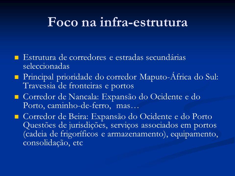 Foco na infra-estrutura Estrutura de corredores e estradas secundárias seleccionadas Principal prioridade do corredor Maputo-África do Sul: Travessia de fronteiras e portos Corredor de Nancala: Expansão do Ocidente e do Porto, caminho-de-ferro, mas… Corredor de Beira: Expansão do Ocidente e do Porto Questões de jurisdições, serviços associados em portos (cadeia de frigoríficos e armazenamento), equipamento, consolidação, etc