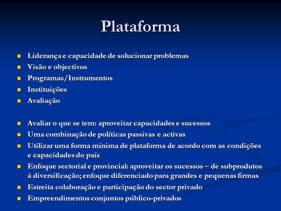 Plataforma Liderança e capacidade de solucionar problemas Liderança e capacidade de solucionar problemas Visão e objectivos Visão e objectivos Program