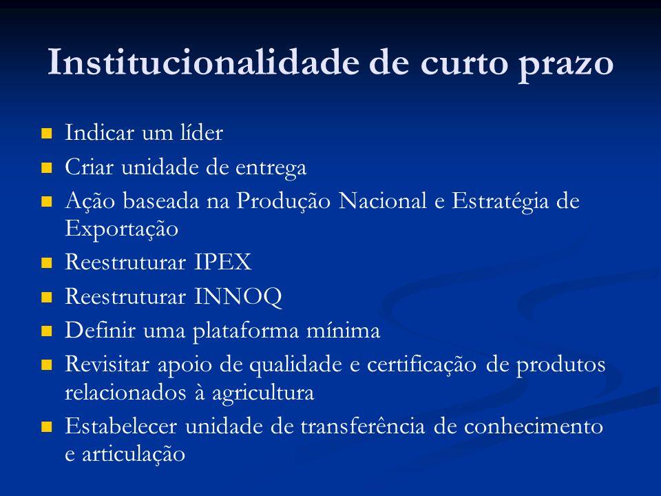 Institucionalidade de curto prazo Indicar um líder Criar unidade de entrega Ação baseada na Produção Nacional e Estratégia de Exportação Reestruturar
