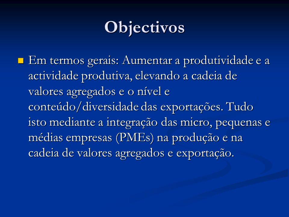 Objectivos Em termos gerais: Aumentar a produtividade e a actividade produtiva, elevando a cadeia de valores agregados e o nível e conteúdo/diversidade das exportações.
