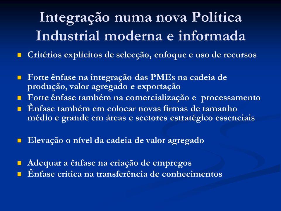 Integração numa nova Política Industrial moderna e informada Critérios explícitos de selecção, enfoque e uso de recursos Forte ênfase na integração da