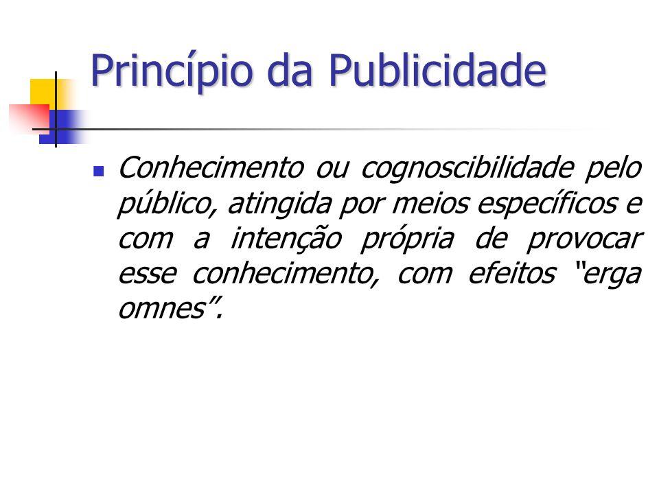 Princípio da Publicidade Conhecimento ou cognoscibilidade pelo público, atingida por meios específicos e com a intenção própria de provocar esse conhe