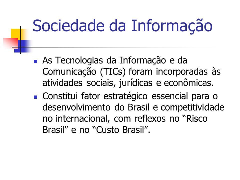 Sociedade da Informação As Tecnologias da Informação e da Comunicação (TICs) foram incorporadas às atividades sociais, jurídicas e econômicas. Constit