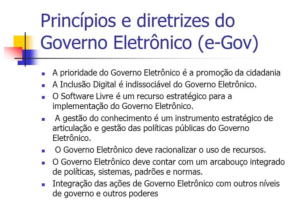 Princípios e diretrizes do Governo Eletrônico (e-Gov) A prioridade do Governo Eletrônico é a promoção da cidadania A Inclusão Digital é indissociável