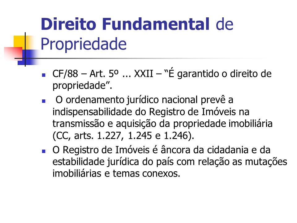 CF/88 – Art. 5º... XXII – É garantido o direito de propriedade. O ordenamento jurídico nacional prevê a indispensabilidade do Registro de Imóveis na t
