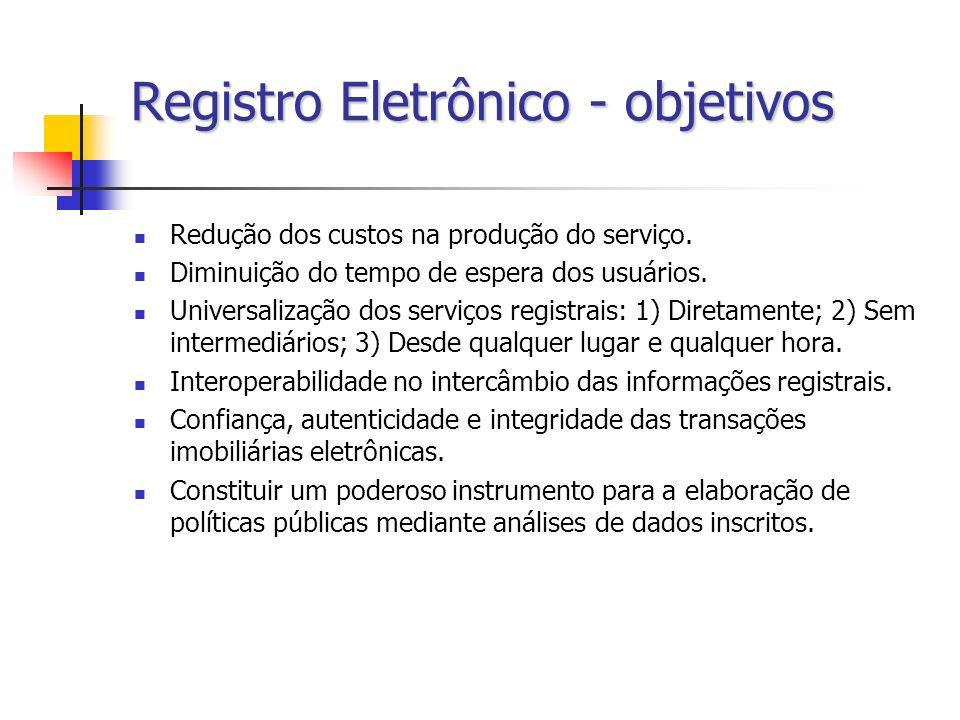 Registro Eletrônico - objetivos Redução dos custos na produção do serviço. Diminuição do tempo de espera dos usuários. Universalização dos serviços re