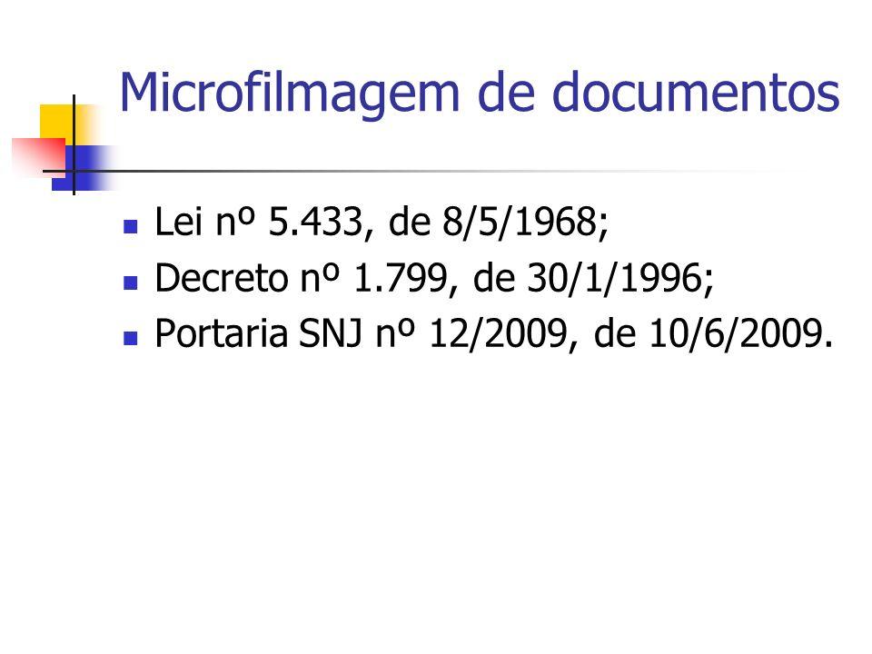 Microfilmagem de documentos Lei nº 5.433, de 8/5/1968; Decreto nº 1.799, de 30/1/1996; Portaria SNJ nº 12/2009, de 10/6/2009.