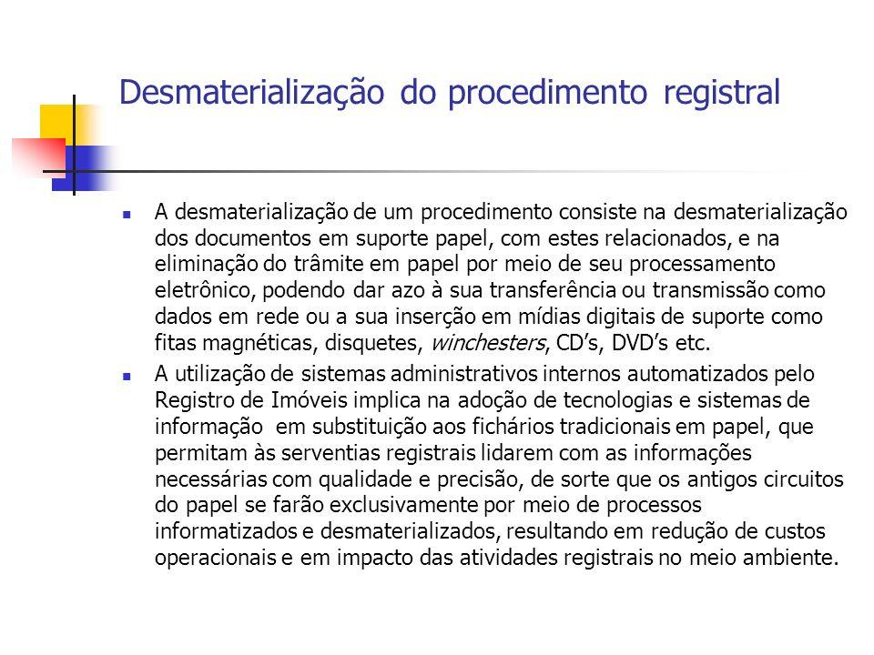 Desmaterialização do procedimento registral A desmaterialização de um procedimento consiste na desmaterialização dos documentos em suporte papel, com