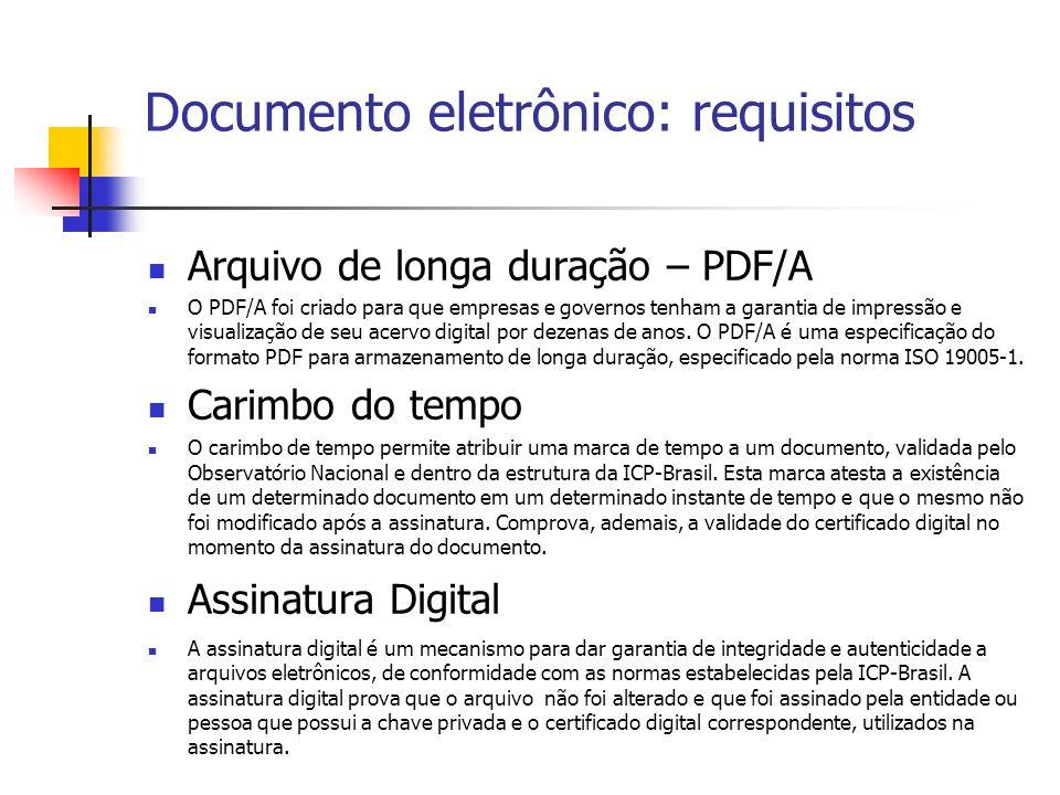 Documento eletrônico: requisitos Arquivo de longa duração – PDF/A O PDF/A foi criado para que empresas e governos tenham a garantia de impressão e vis
