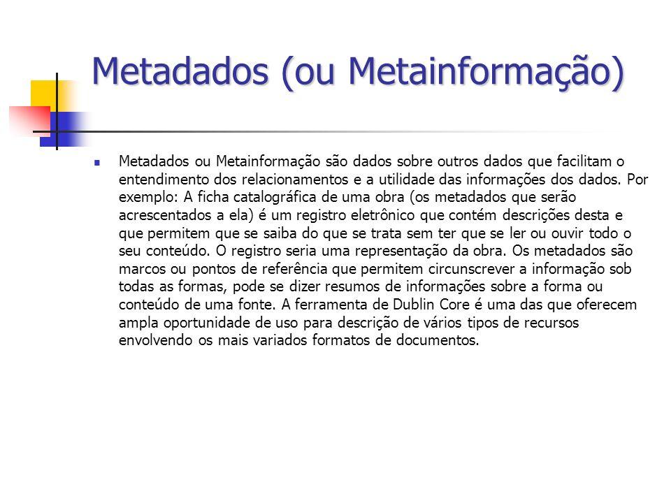 Metadados (ou Metainformação) Metadados ou Metainformação são dados sobre outros dados que facilitam o entendimento dos relacionamentos e a utilidade